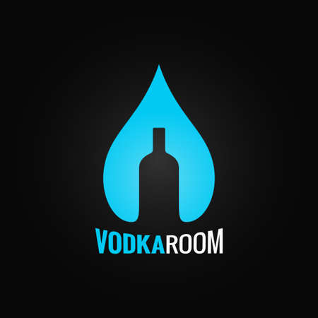 vodka glass bottle drop background Vector