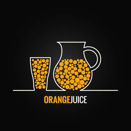 orange juice glass bottle line design background Vector
