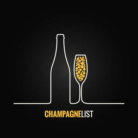 champagne glass bottle menu background Çizim