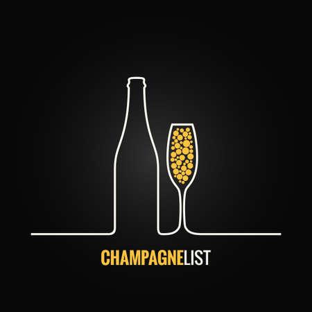 bouteille champagne: verre de champagne menu bouteille fond Illustration