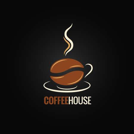 logotipos de restaurantes: taza de café del diseño de frijol fondo