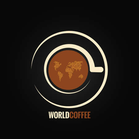 coffee cup world map background Vectores