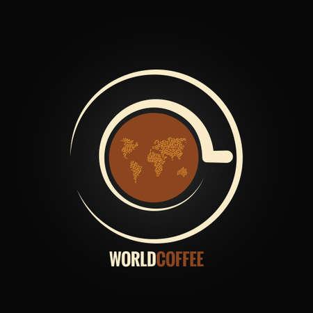 chicchi di caffè: tazza di caff� sfondo mappa del mondo Vettoriali