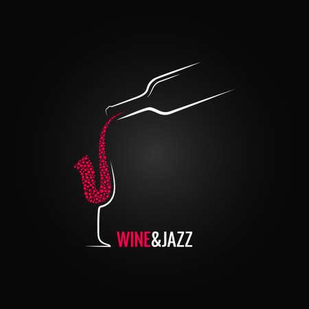 saxofón: vino y jazz concepto de diseño de fondo Vectores