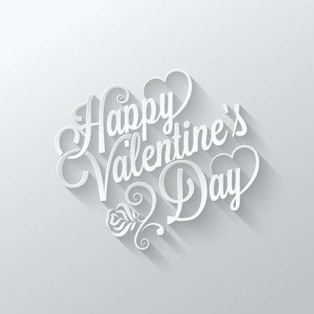 day saint valentin: valentines day vintage lettering cut paper background Illustration