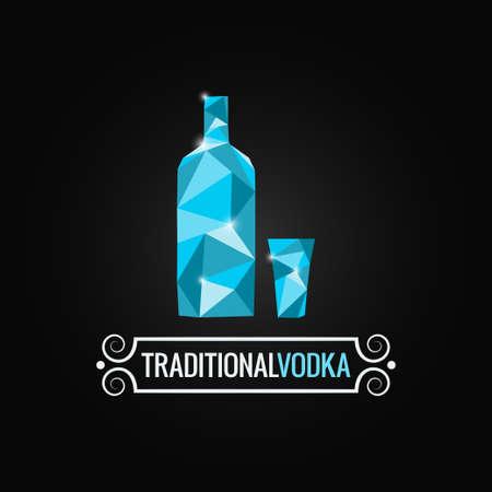 russian food: vodka bottle poly design background