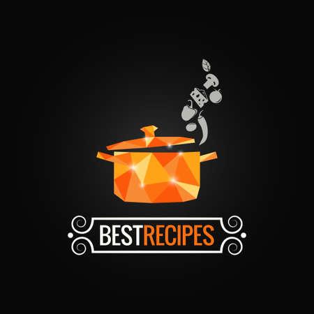 logo de comida: cacerola de fondo de diseño poli