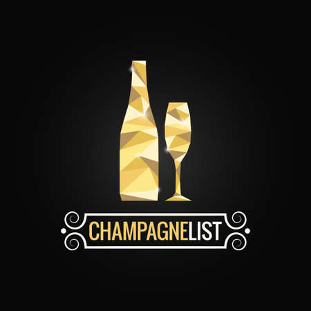 champagnefles poly ontwerp achtergrond Stock Illustratie