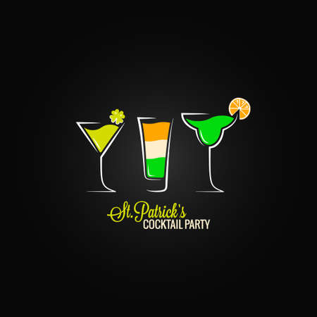 irish banners: Patrick day cocktail design background Illustration