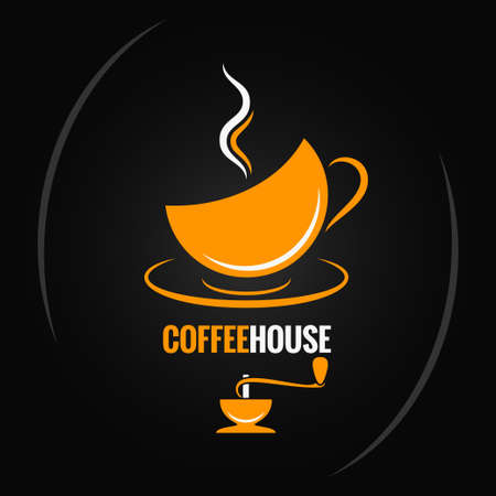 coffee icon: coffee cup with vintage  mill background Illustration