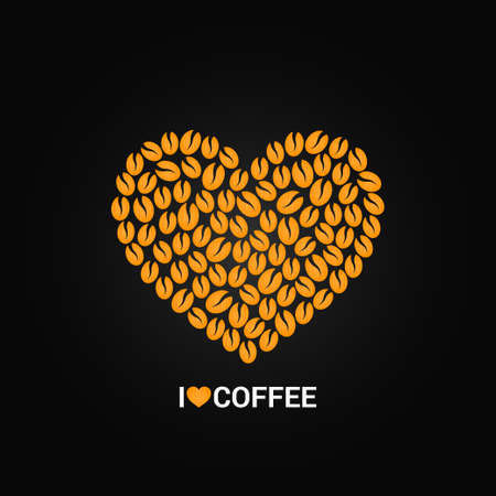 coffee beans white background: coffee beans love concept background