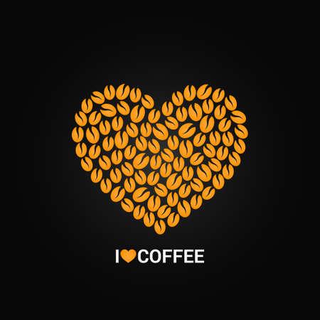 grano de cafe: granos de café concepto de amor de fondo Vectores