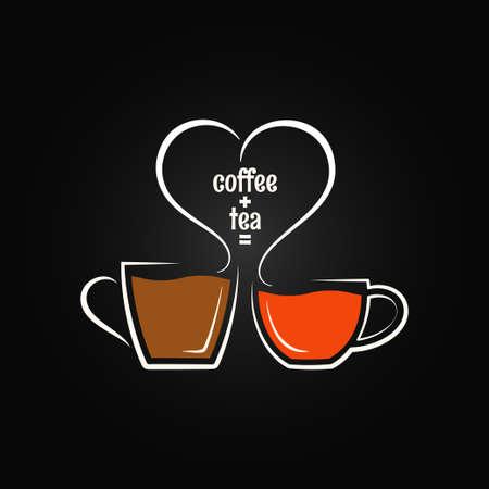koffie, thee, liefde concept achtergrond Stock Illustratie