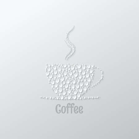 coffee cup paper cut background Vector