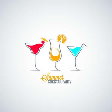 夏のカクテル パーティー メニュー背景