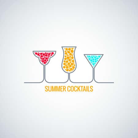 summer  cocktails menu background Illustration