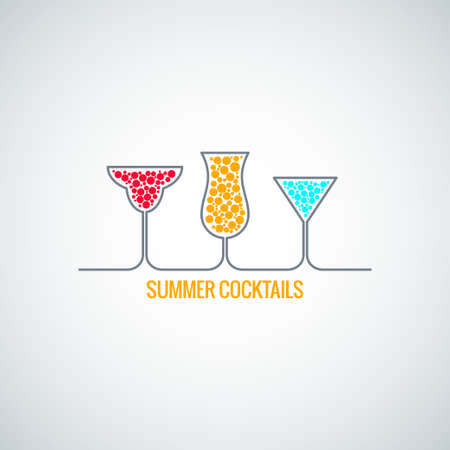 summer  cocktails menu background 矢量图像