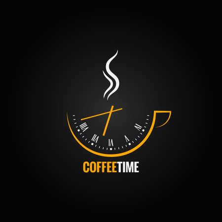 dejeuner: tasse de caf� de temps d'horloge concept background Illustration