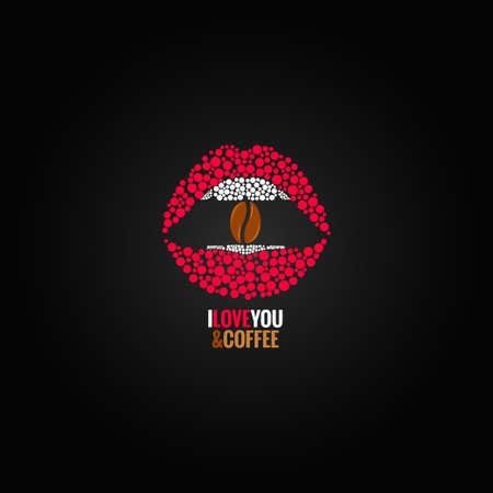 beso labios: café labios frijol concepto de diseño de fondo Vectores