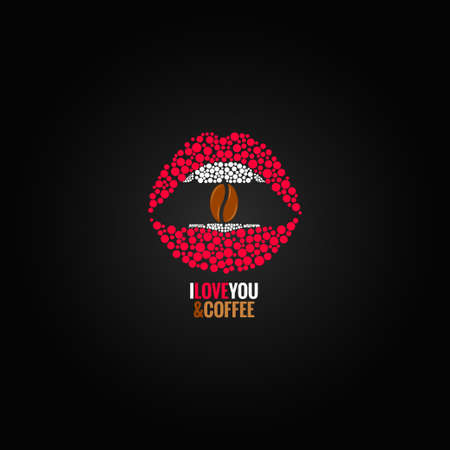 red sign: coffee bean lips concept design background Illustration