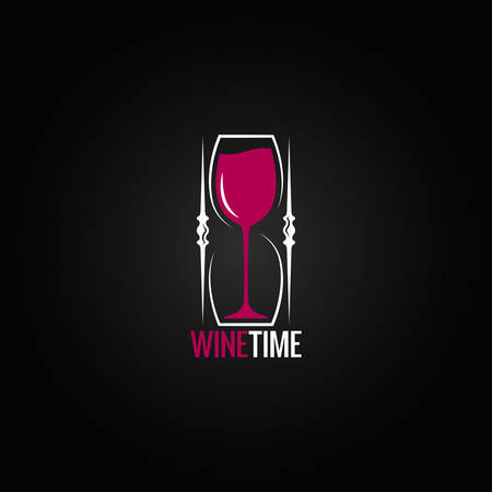 reloj de arena: copa de vino concepto de reloj de arena de fondo de diseño Vectores