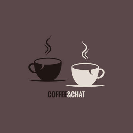 coffee cup chat concept background Illustration