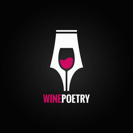 writing on glass: wine glass pen concept background