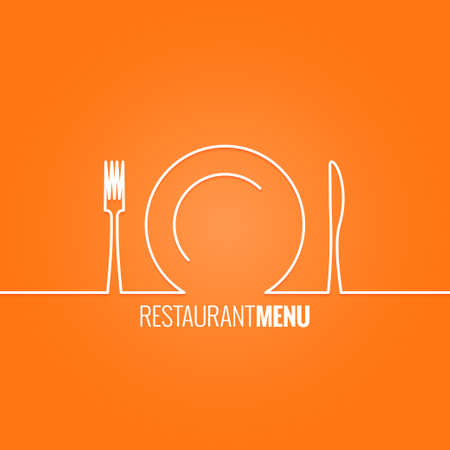 knife and fork: plate fork knife design background Illustration