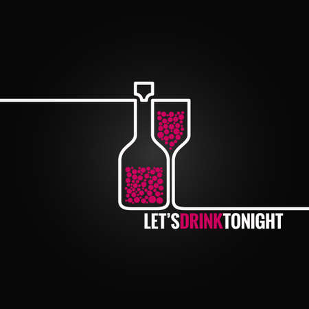 wine bottle glass line design background Ilustração