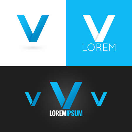 letter v: letter V logo design icon set background