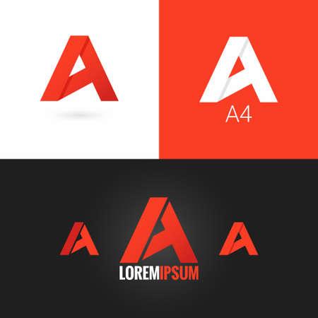Letra A logotipo de diseño de iconos conjunto de antecedentes Foto de archivo - 41350214