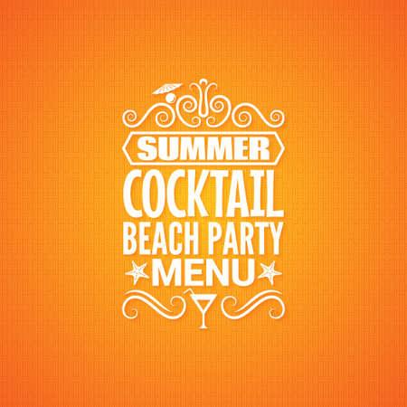 party design: summer cocktail party menu design background  Illustration