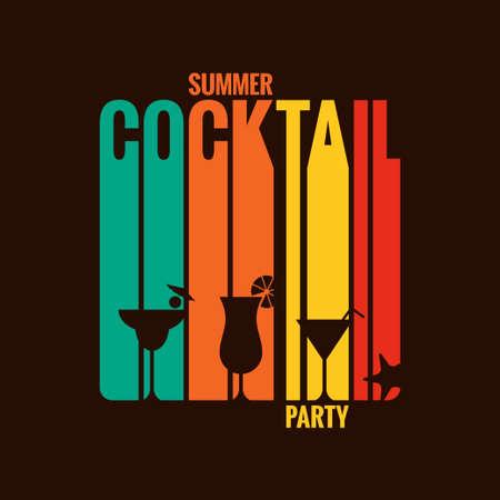여름 칵테일 파티 메뉴 디자인 배경 일러스트