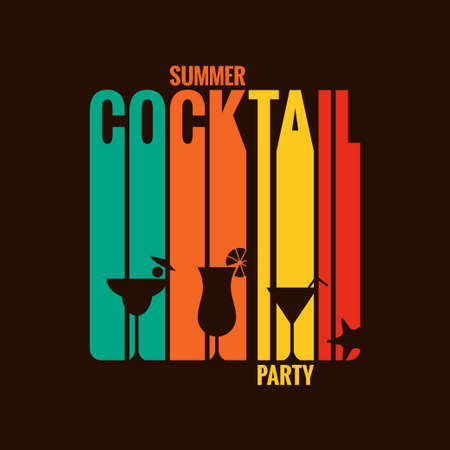 hour glasses: summer cocktail party menu design background  Illustration