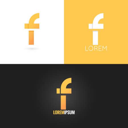 letter F logo design icon set background