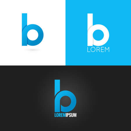 alphabet letter a: letter B logo design icon set background