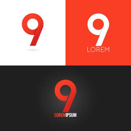 number nine 9 logo design icon set background