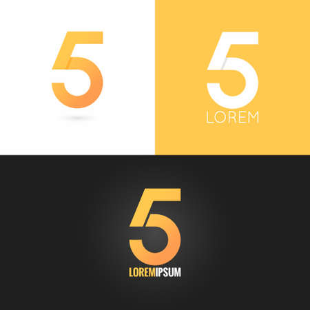 design icon: number five 5 logo design icon set background