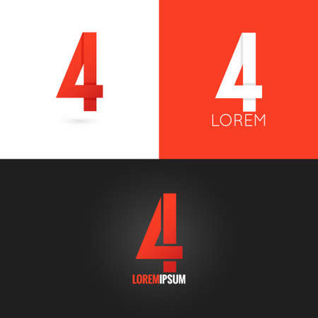 number four: number four 4 logo design icon set background