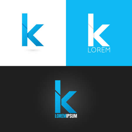 手紙 K ロゴ デザイン アイコン セット背景 10 eps