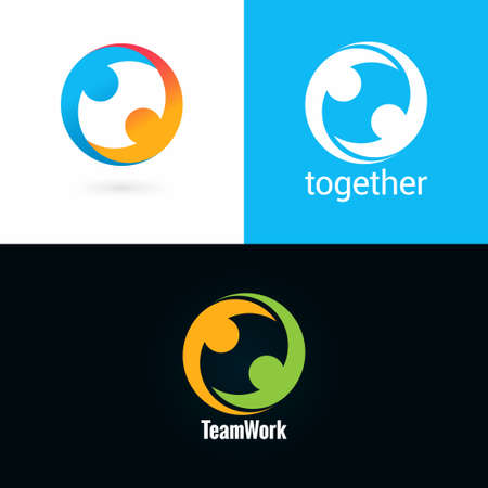 team work logo design icon set background 10 eps Illustration