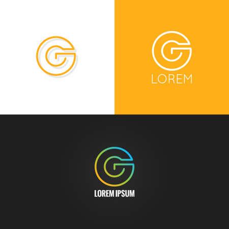 neon letter: letter G  alphabet design icon set background 10 eps Illustration