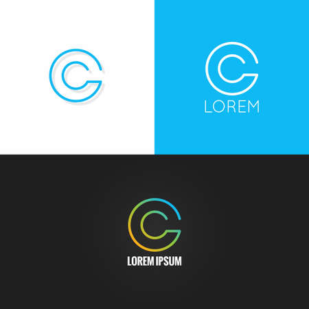 calligraphic design: letter C  alphabet design icon set background 10 eps Illustration