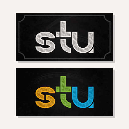 u s: letter S T U logo alphabet chalk icon set background 10 eps Illustration