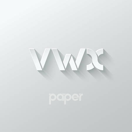 letter V W X logo alphabet icon paper set background 10 eps
