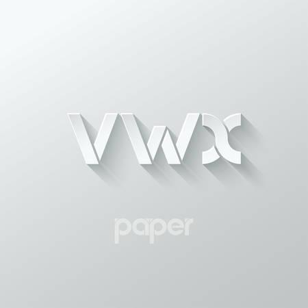 papier a lettre: lettre VWX logo alphabet icône papier set background 10 eps