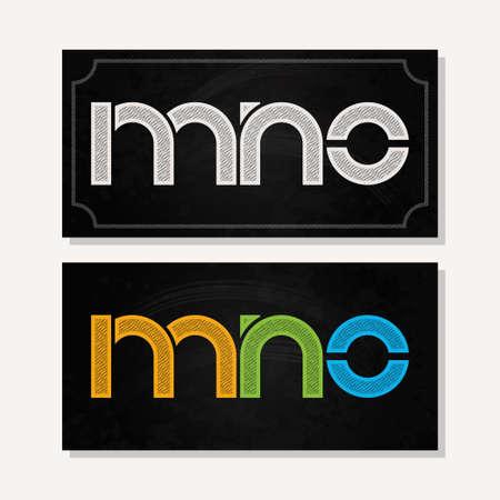 letter alphabet: letter M N O logo alphabet chalk icon set background 10 eps Illustration