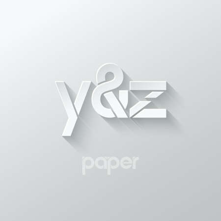 letter Y and Z logo alphabet icon paper set background 10eps