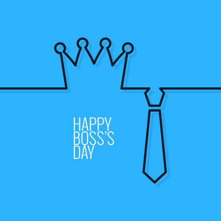 corporate office: boss day continuous line vector background