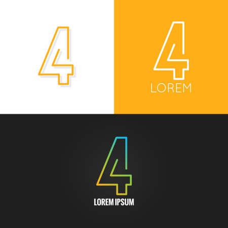 数 4 4 ロゴ デザイン アイコン セット背景 10 eps  イラスト・ベクター素材